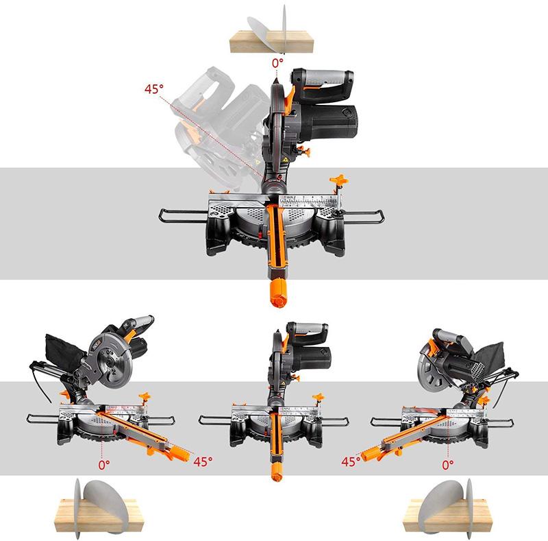 TACKLIFE Scie à Onglet Radiale, 1500W Scie Onglet, Guide de Laser