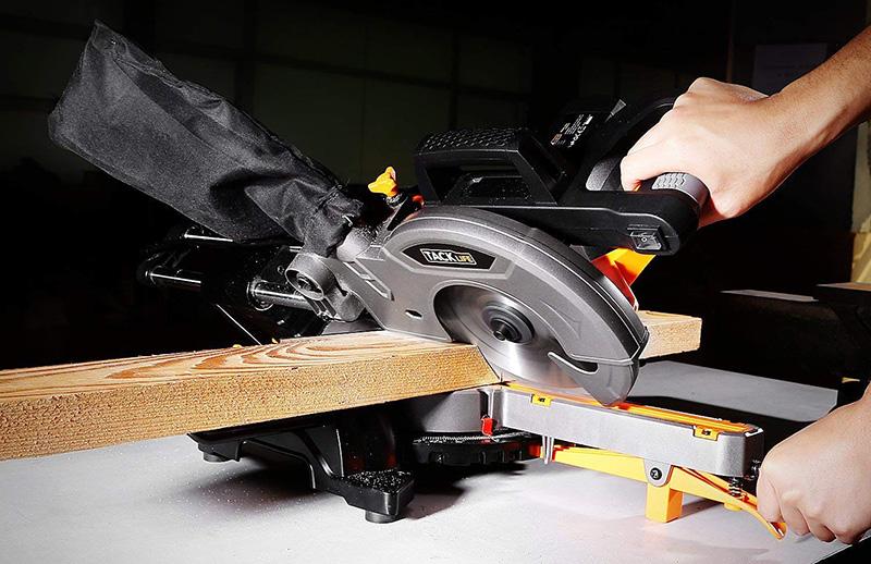TACKLIFE Scie à Onglet Radiale, 1500W Scie Onglet, Guide de Laser, Vitesse à 4500rpm
