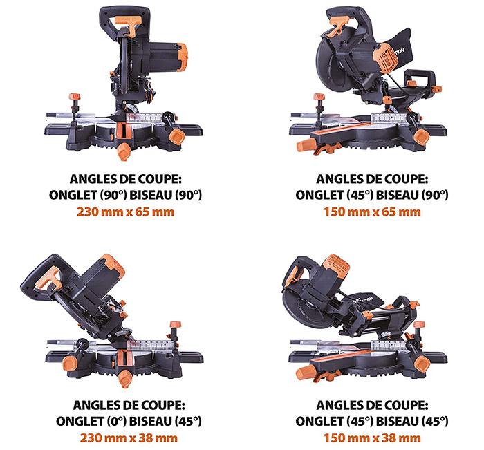 avis Evolution Power Tools - Scie à Onglets Coulissante Multi-Matériaux R210SMS+