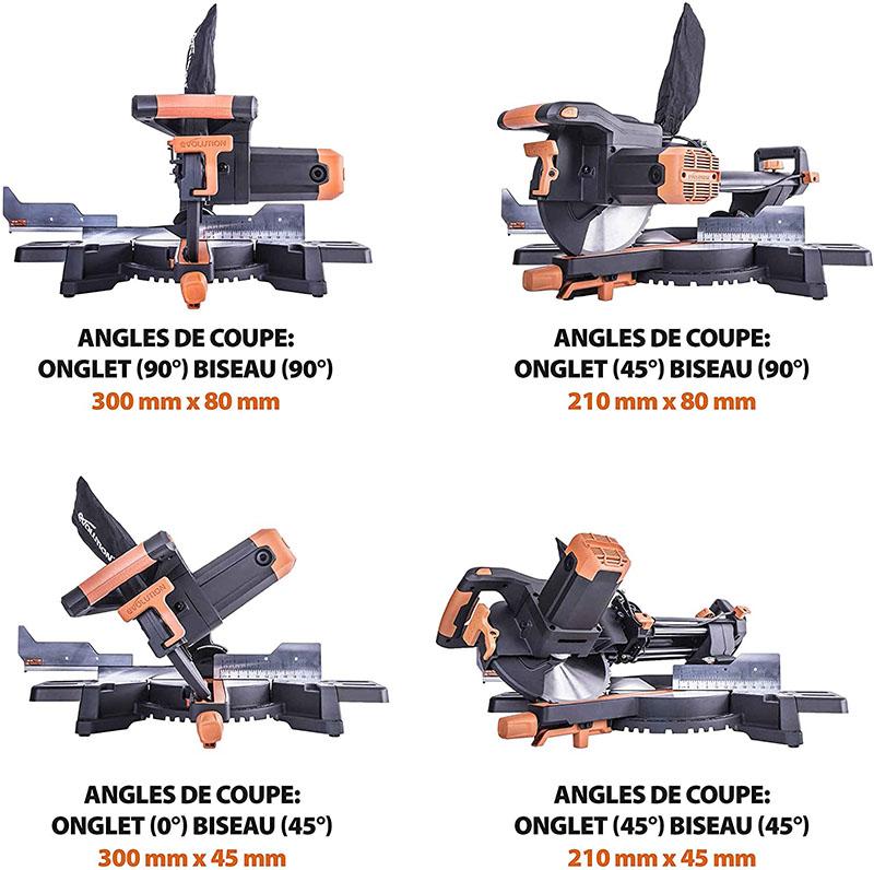 test et avis Evolution Power Tools - Scie à Onglets Coulissante Multi-Matériaux R255SMS+